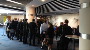The queue to get into the conference hall this morning.