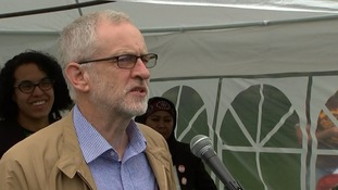 Jeremy Corbyn addresses the crowd at the rally in north London.