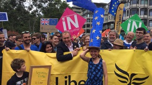 Tim Farron at the march in London.