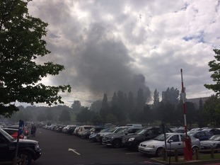 The fire broke out near the Merry Hill shopping centre.