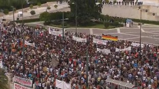 Huge protests outside the Government building in central Athens