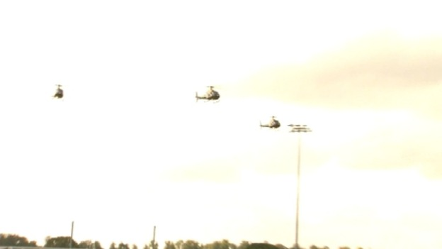 Military helicopter flypast