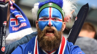 An Iceland supporter.