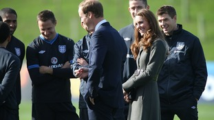 Kate and William talking to members of England football team