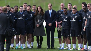 Kate and William with the England football team