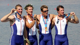 James Cracknell and the rest of the coxless four team that won gold at the Athens 2004 Olympics.