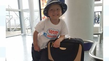 Kian Musgrove at Newcastle Airport getting ready to jet off to America for live-saving treatment