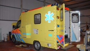 One of the fake ambulances that was used in the drug smuggling plot.