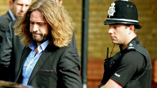 Justin Lee Collins leaves St Albans Crown Court after hearing the guilty verdict