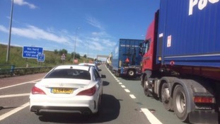 Earlier today: massive tailbacks on M62 after 7 vehicle collision