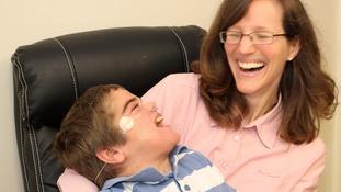 Jonathan Bryan enjoying a joke with his mum Chantal