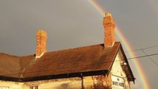 A rainbow at the end of another stormy June day at Empingham in Rutland.
