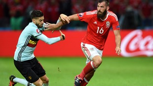 Joe Ledley in action for Wales against Belgium.