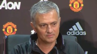 Jose Mourinho speaking at Old Trafford Today.