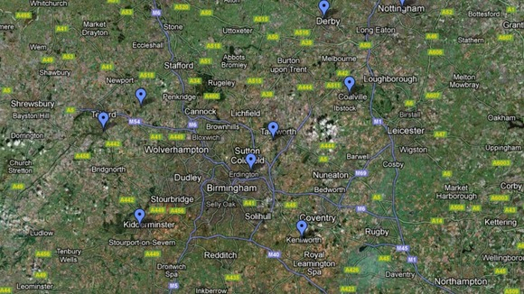Some of the locations across the Midlands celebrating bonfire night