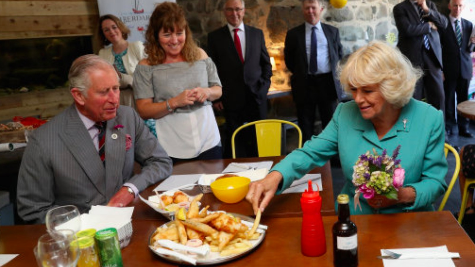 Prince of Wales samples fish and chips in Aberdaron