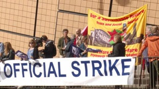 Striking teachers demonstrate in Plymouth