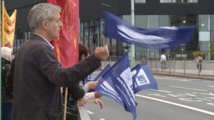 A demonstration by striking teachers in Plymouth