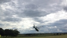 The air ambulance landing to rescue the diver