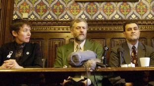 Jeremy Corbyn chaired a press conference for the 'Don't Attack Iraq' coalition in 2003.