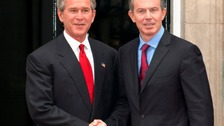 Former prime minister Tony Blair with then US president George Bush