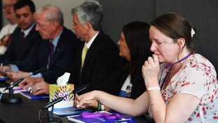 Sarah O'Connor and other relatives at the Chilcot Report press confer