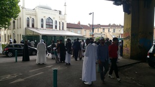 Worshippers outside Bristol mosque