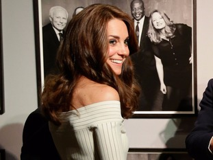 The Duchess of Cambridge stands in front of Rankin photographs ahead of presenting the Art Fund Museum of the Year award.