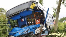 The front of the bus was badly damaged