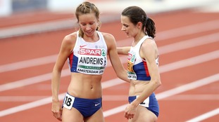 Great Britain's Jo Pavey (right) and Jess Andrews after the Women's 10,000m Final during day one of the 2016 European Athletic Championships at the Olympic Stadium, Amsterdam.