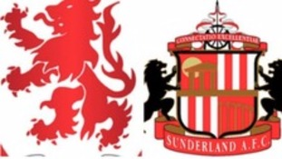 Middlesbrough and Sunderland crests
