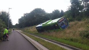 No passengers were on board and the driver was not hurt.