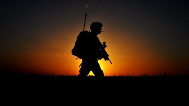 Heading back to base as the sun sets in Helmand
