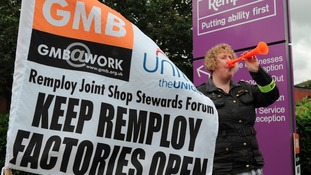 Former Remploy workers stage protest at Tory Conference