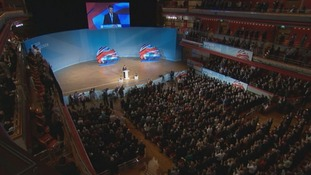 Seb Coe addressing the Conservative Party Conference
