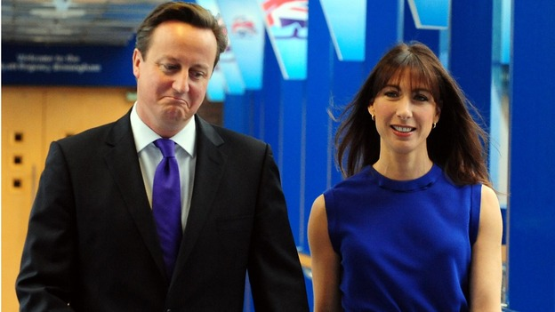 David Cameron and wife, Samantha make their way to the conference hall in Birmingham