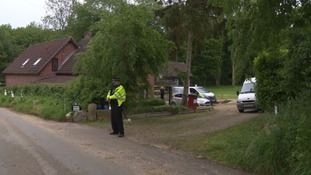 Police at their house on Mill Lane in Weybread