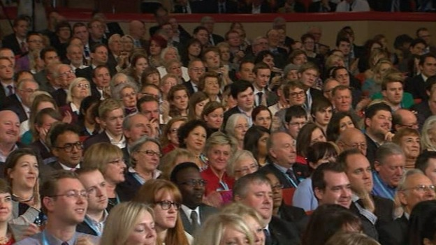 Delegates listen to David Cameron in Birmingham