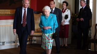 The Queen, the Duke of Edinburgh and Princess Margaret at the unveiling of a new portrait of the Queen.