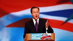 David Cameron addressing the Tory Party Conference