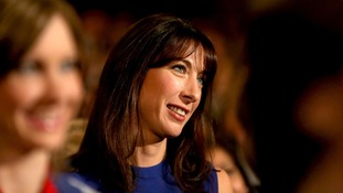 Samantha Cameron listens to her husband in Birmingham