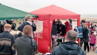 Anne-Marie Trevelyan addressing the Save Druridge picnic in May