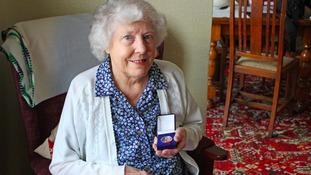 Mildred Skermer with her Robert Lawrence medal