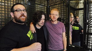 Edgar Wright (centre) with long time collaborators Nick Frost (left) and Simon Pegg (right)