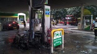 Horror as moped on fire burns out pump at west London petrol station