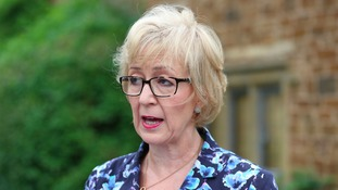 Andrea Leadsom faced the media outside her house in Northamptonshire today.