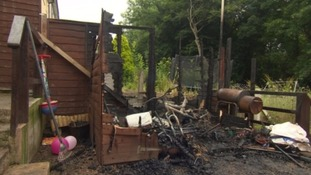 Arsonists burnt down the family's shed