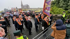 The Orange Order are stopped from marching down the Garvaghy Road in Portadown.