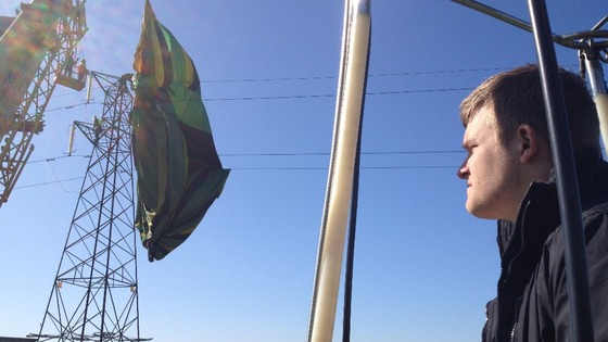 Pilot, Adam Griffiths surveying scene of air balloon crash