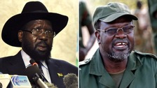Fighting is between Salva Kiir (left) and Riek Machar (right).
